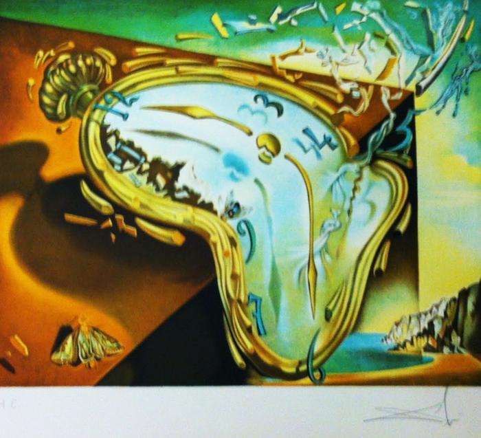 original signed lithograph by salvador dali melting clock the