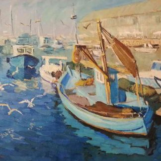 Seagulls flying by fishermen boats